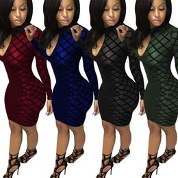 Barato Barato Sexy Night Club Vestidos-Sexy Plaid Bodycon Vestidos de festa para mulheres Elastic Going Out Night Club Midi vestidos / 4 cores S -XXL / Atacado Cheap DHL Fast Shipping