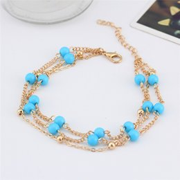 $enCountryForm.capitalKeyWord Australia - 2017 New Foot Jewelry Turquoise Beads Boho Anklets for Women Chaine Beach Vacation Bohemian Beach Party Barefoot Sandals Enkelbandje