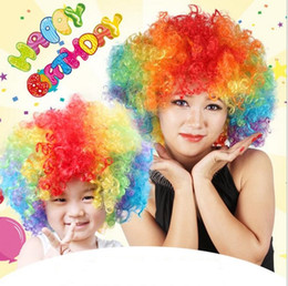 Afro costume online shopping - Festival Clown Wig Costume New Circus Curly Party Favors afro wigs Halloween Costume Wig Hair soccer Fans wig