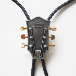New Vintage Western Tie Clips Bolo For Men Original Country Music Guitar Wedding Leather Necklace