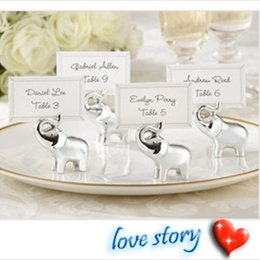 """$enCountryForm.capitalKeyWord NZ - Wedding Party Decoration """"Lucky in Love"""" Silver Lucky Elephant Place Name Card  Photo Holders Love Table Number Clip+DHL Free Shipping"""