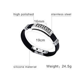 Men Design Stainless Steel Bracelet Canada - Cross Bracelet For Men Women Black Silicone Bracelets Stainless Steel Spring Clasp Jewelry Simple Design