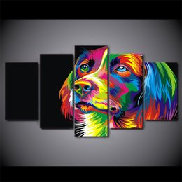 $enCountryForm.capitalKeyWord Canada - 5 Pcs Set Framed HD Printed Colorful dog Painting Canvas Print room decor print poster picture canvas Free shipping ny-2689