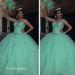 12 ans de robes Pas Cher-2017 Belle perle Crystal Mint Vert Quinceanera Robe Tulle Sweet 16 ans Long Girls Party Pageant Ball Gown Plus Size Custom Made