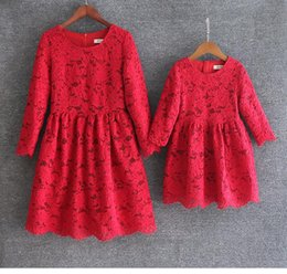 mother daughter lace matching dresses NZ - 4 Colors Mother Daughter Dresses European style Mom and Me Lace Matching Dress Mother and Maughter Clothes for Party Christmas Gifts S071