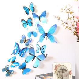 $enCountryForm.capitalKeyWord NZ - Television Wall Background 3D Sticker Decorations Art 12 Pcs Lot Colorful Butterfly Magnet Fridge Sticker Home Decor