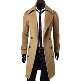 Veste En Mousseline De Soie Pas Cher-Vente en gros-Double Breasted X-Long Jacket Manteaux en laine Windbreaker Palto Jaqueta Masculina hommes manteau d'hiver Hombre Mens Vestes et manteaux