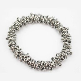 $enCountryForm.capitalKeyWord NZ - Making 316L stainless steel chain link silver metal charm stretch bracelet fashion elastic stretchy bangle bracelets for women