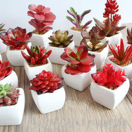 Fake potted Flowers online shopping - Artificial Plants with Vase Bonsai Tropical Cactus Fake Succulent Potted Office Home Decorative Simulation Flower Pots ys R