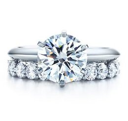 $enCountryForm.capitalKeyWord UK - T Brand 6 Prong Total 3.21 ct Synthetic Diamond Jewelry For Women Wedding Sterling Silver Ring Set Semi Mounting Designer Factory