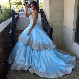 China Made Silver NZ - 2017 Light Sky Blue Sweetheart Long Prom Gowns Modest Silver Lace Applique Formal Gowns Plus Size Custom Made China EN7284
