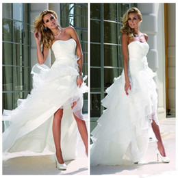 White High Low Beach Wedding Dresses 2017 Curved Neckline Sleeveless Cascading Ruffles Tiered Skirts A Line Bridal Gown from silver lace front manufacturers