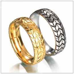 $enCountryForm.capitalKeyWord Canada - 2017 New hip hop Tire ring Fitness accessories Titanium steel Gold Silver 6mm width racing ring fashion jewewlry for men HIP HOP punk ring