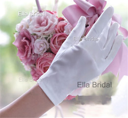 Wholesale High Quality Short Satin Bridal Gloves White Ivory Red Black Wrist Length Full Finger Wedding Accessories Prom Party Evening Ceremony Gloves