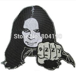 "embroidered logo patch Canada - 3.9"" OZZY Music Band Embroidered LOGO Sew On Iron On Patch Emo Goth Punk Rockabilly Customized patch available"