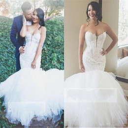 $enCountryForm.capitalKeyWord NZ - Sexy Sweetheart Mermaid Wedding Dresses Plunging Lace And Tulle Lace Up Back Beach Wedding Dress Sweep Train Plus Size Boho Bridal Gowns