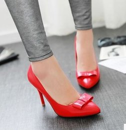 Discount elegant brides shoes - Wholesale New Arrival Hot Sale Specials Sweet Girl Good Quality Sexy Elegant Leather Wild Noble Pointed Bow Large Size B