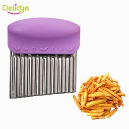 eco potato cutter Canada - Delidge 10 pc Wave Potato Cutter Stainless Steel Potato Chip Dough Vegetable Crinkle Wavy Cutter High Quality Fruits Slicer