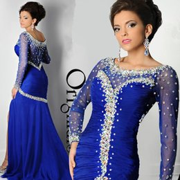 Barato Vestidos Longos De Lycra-Royal Blue Long Sleeve Mermaid Evening Dresses Long Scoop Neck Vestido de noite de cristal plissado Major Beading formal Dressing Cartier Red Carpet