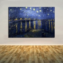 Van Gogh Paints Canada - Starry Night,Pure Hand Painted Modern Wall Decor Vincent Van Gogh Starry Night Art Oil Painting On High Quality Canvas.Multi sizes VG005