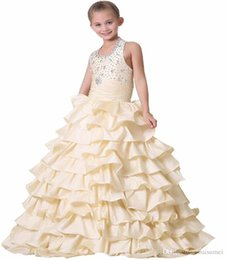 $enCountryForm.capitalKeyWord UK - 2016 Elegant Girls Pageant Dresses Sleeveless Halter Beads Rhinestone Ruffle Tiered Taffeta Flower Girl Dresses Size customization