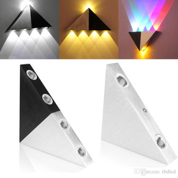 Wholesale Triangle Led Wall light v W W W W Foyer Corridor Balcony Aisle Wall Lamp White Warm White RGB Wall lights with Black Silver Cover