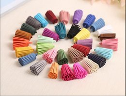 fringe charm Canada - Mixed Color 30*15mm Suede Leather Fringe Tassels Velvet Cord Tassels Pendant Handmade Bracelet Earring Charms Jewelry Making Tassels Craf