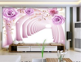 purple wallpaper wholesale UK - Custom any size 3D Space Purple Rose Mural Background Wall mural 3d wallpaper 3d wall papers for tv backdrop