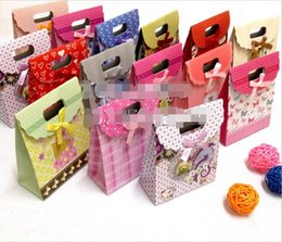 packaging bows NZ - 50pcs lot hot sale nice multi color cute Lovely gift bag exquisite packaging bow cover bag jewelry handbag gift box samll size 12.5*16.5*6