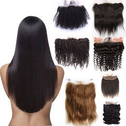 cheap closures Canada - Wholesale cheap Brazilian Human Hair Weaves water wave 13X4 peruvian malaysian indian Lace Closure Bleached Remy Hair 1# 1b# 2# 4#
