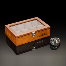 Glass Top Display Cases Canada - Antique Type SOKI Solid Walnut Wood Watch Box for 8 Watches Display Case with Glass Top Show Case