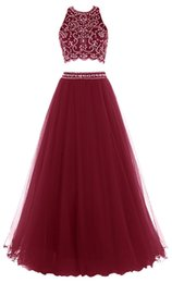 $enCountryForm.capitalKeyWord UK - 2019 Modern Halter Neck Women Prom Dresses 2 Piece A-line Floor Length Top Crystal Evening Dresses Backless Sleeveless Hot Pageant Dresses