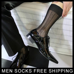 Chaussettes Sexy Pas Cher-Gentlemen Chaussette en soie Sheer Thin Sexy Softy Slip Hommes Chaussettes en soie Robe soie Chaussettes sexy en soie Sexy
