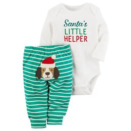 Costumes Pour Chiens Pas Cher-2017 Autumn Baby 2PCS Rompers Suit Boys and Girls Lettres de Noël imprimé White Jumpersuits + Dog Striped Pants