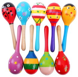 Musical instruMents orff online shopping - New infant baby Wooden toys hammer baby sand hammer Educational Toys Handbells Orff musical instruments C1692