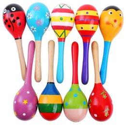 Cartoon wooden hammer online shopping - New infant baby Wooden toys hammer baby sand hammer Educational Toys Handbells Orff musical instruments C1692