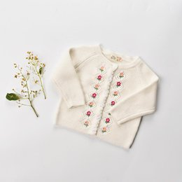 54d9c09c58 Toddler kids cardigan Baby girls cotton Floral embroidery knitting sweater  Autumn Winter Infant single-breasted outwears Baby Clothing