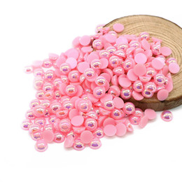 Wholesale All Size Pink AB Color Flat Back ABS Round Half Pearl beads, Imitation Plastic Half Pearl Beads For Garment Deco