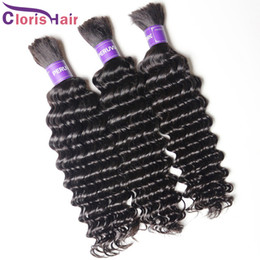 deep wave braiding hair 18 inches 2019 - Raw Indian Curly Human Hair Bulk 3 bundles Unprocessed Deep Wave Hair Extensions In Bulk No Weft For Braiding Soft Human
