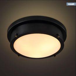 ceiling light fixture black 2019 - American Loft Industril Vintage LED Ceiling Lights Fixtures Creative Round Retro Lamp Bedroom Ceiling Light Plafon Lumin