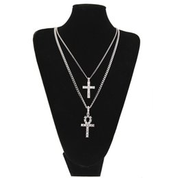 Chinese  Egyptian Ankh With Cross Pendant Necklace Set Rhinestone Crystal Key To Life Egypt Cross Necklaces Hip Hop Jewelry Set manufacturers