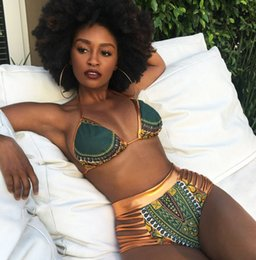 Barato Traje De Banho De Ouro Sexy-2017 New African Print Two-Pieces Conjuntos de banho Bikini Set Sexy Geometric Swimwear Swimsuit Gold High Waist Swimming Suit