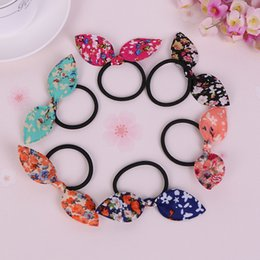 $enCountryForm.capitalKeyWord Australia - Wholesale- Small floral Rabbit Ears Hair Ring Headwear, Child Towel Ring Rabbit Ears Hair Ring, Best DIY Gift For Kids And Girls