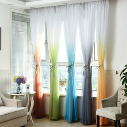 modern voile curtain thickening gradient color window tulle curtains for living room kitchen decoration new arrival 15hq b r