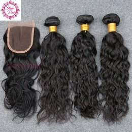 $enCountryForm.capitalKeyWord NZ - 8A 4Pcs Lot Brazilian Hair Water Wave 3 Bundles With Closure Unprocessed Brazilian Water Wave Human Hair Weave With Lace Closure