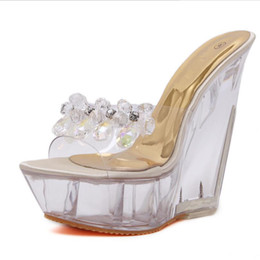 a1fa4bf707 summer high-heeled cool slippers transparent diamonds crystal shoes wedges  metal high heels sandals women nightclub shoes