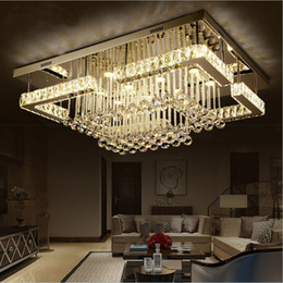 RectangulaR bedRoom ceiling light online shopping - NEW modern Pendant light rectangular LED K9 crystal chandelier ceiling mounted crystal fixutres foyer chandeliers for living room