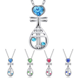 $enCountryForm.capitalKeyWord Canada - Chinese Musical Instrument Crystal Heart Pipa Necklace Silver Chain Crystal Diamond Pendant Fashion Jewelry Gift for Women Kids
