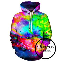 Space Print Sweatshirts NZ - Wholesale- ALMOSUN Colors Galaxy Space 3D All Over Printed Hoodies Pockets Sweatshirt Hipster Festival Casual Streetwear Men Women US Size