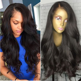 cheap stock lace wig NZ - Synthetic Wigs Synthetic hair for Black Women synthetic lace front wigs Natural Colorl Cheap Hair Wig with side bangs in stock